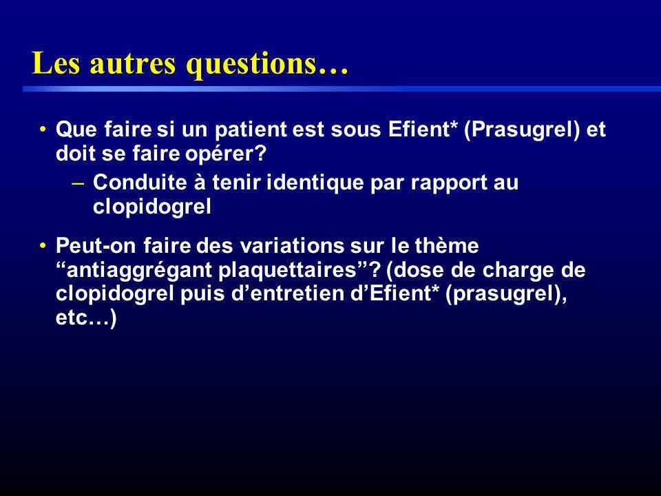 Les autres questions… Que faire si un patient est sous Efient* (Prasugrel) et doit se faire opérer? –Conduite à tenir identique par rapport au clopido