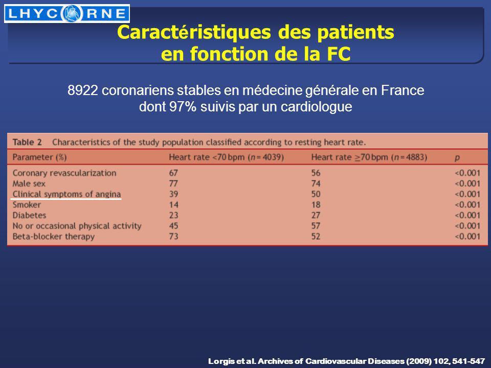 Caract é ristiques des patients en fonction de la FC Lorgis et al. Archives of Cardiovascular Diseases (2009) 102, 541-547 8922 coronariens stables en
