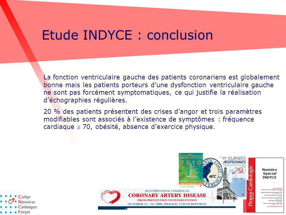 Etude INDYCE : conclusion Numéro Spécial INDYCE La fonction ventriculaire gauche des patients coronariens est globalement bonne mais les patients port