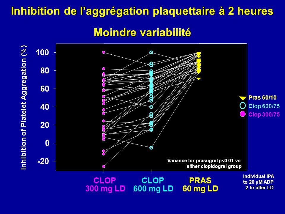 Inhibition de laggrégation plaquettaire Après dose de charge : précocité et puissance mean ± SEM 20 μM ADP Temps après dose de charge (hrs) Inhibition of Platelet Aggregation (%) 0 20 40 60 80 100 Clop 300 mg LD 0.250.5124624 Dose de charge p<0.001 vs.