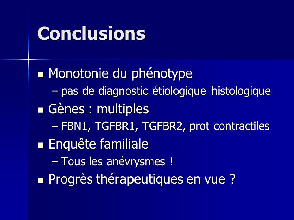 Conclusions Monotonie du phénotype Monotonie du phénotype –pas de diagnostic étiologique histologique Gènes : multiples Gènes : multiples –FBN1, TGFBR
