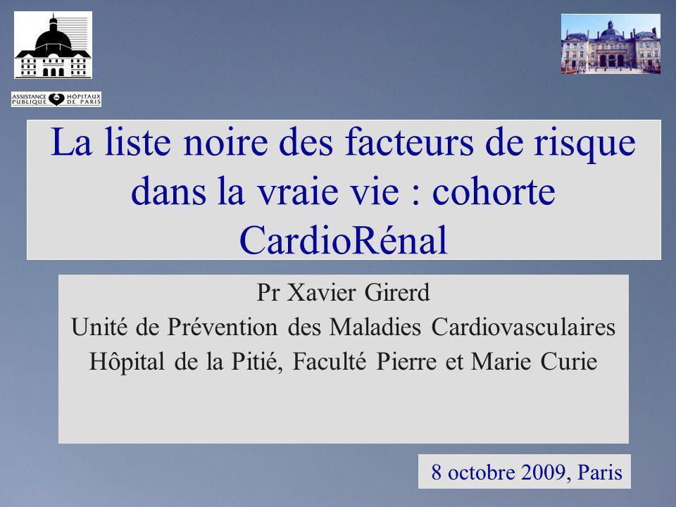 La liste noire des facteurs de risque dans la vraie vie : cohorte CardioRénal 8 octobre 2009, Paris Pr Xavier Girerd Unité de Prévention des Maladies