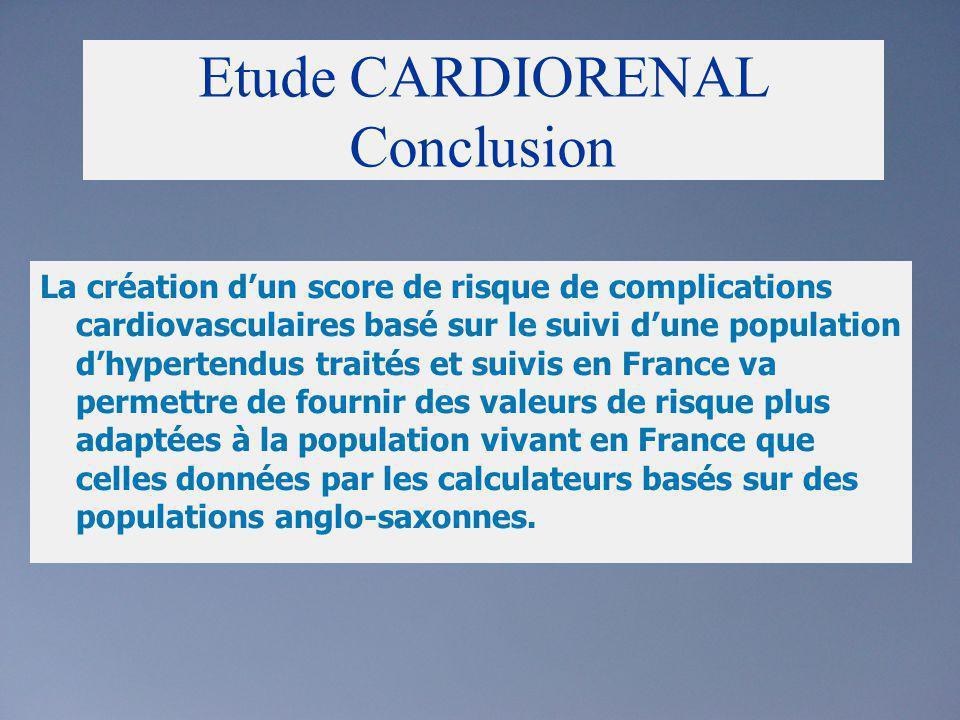 Etude CARDIORENAL Conclusion La création dun score de risque de complications cardiovasculaires basé sur le suivi dune population dhypertendus traités