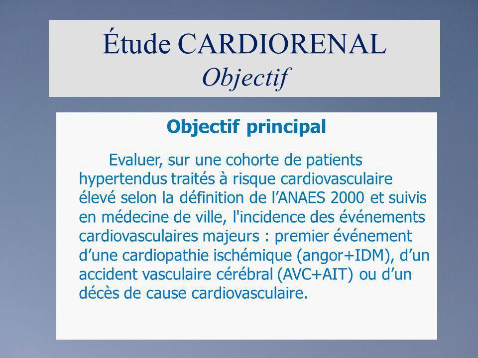 Étude CARDIORENAL Objectif Objectif principal Evaluer, sur une cohorte de patients hypertendus traités à risque cardiovasculaire élevé selon la défini