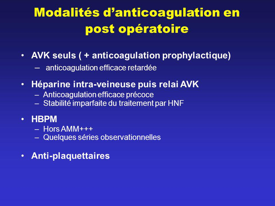 Modalités danticoagulation en post opératoire AVK seuls ( + anticoagulation prophylactique) – anticoagulation efficace retardée Héparine intra-veineus
