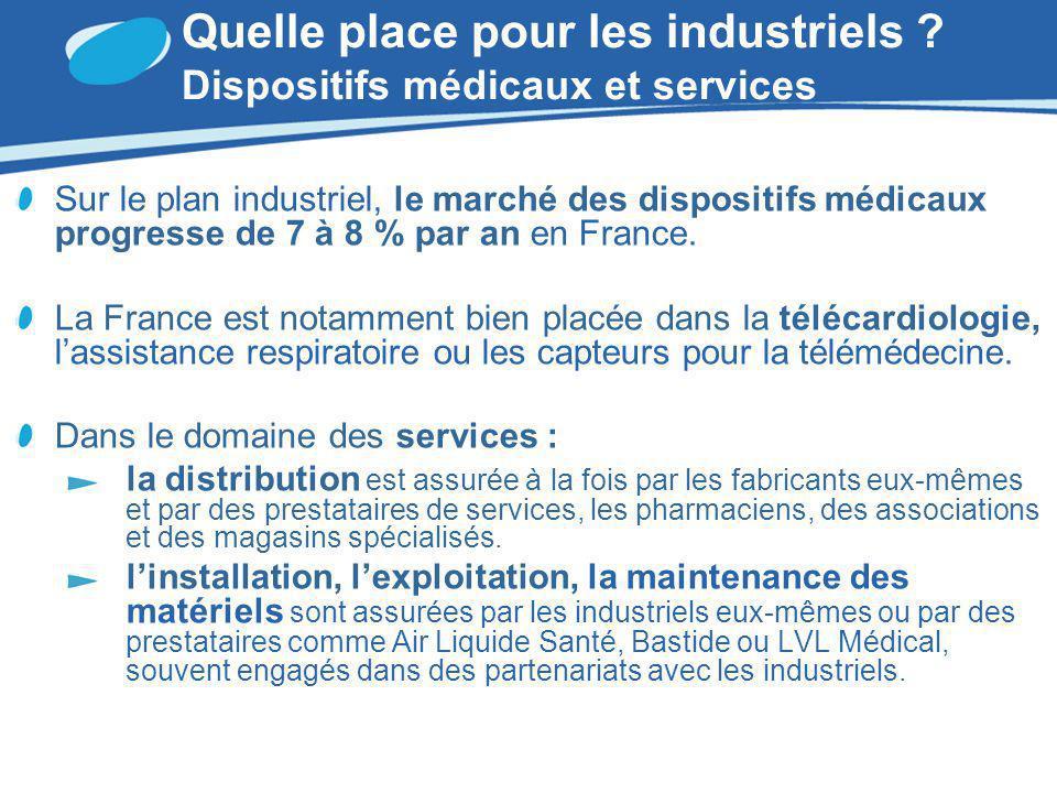 Quelle place pour les industriels ? Dispositifs médicaux et services Sur le plan industriel, le marché des dispositifs médicaux progresse de 7 à 8 % p