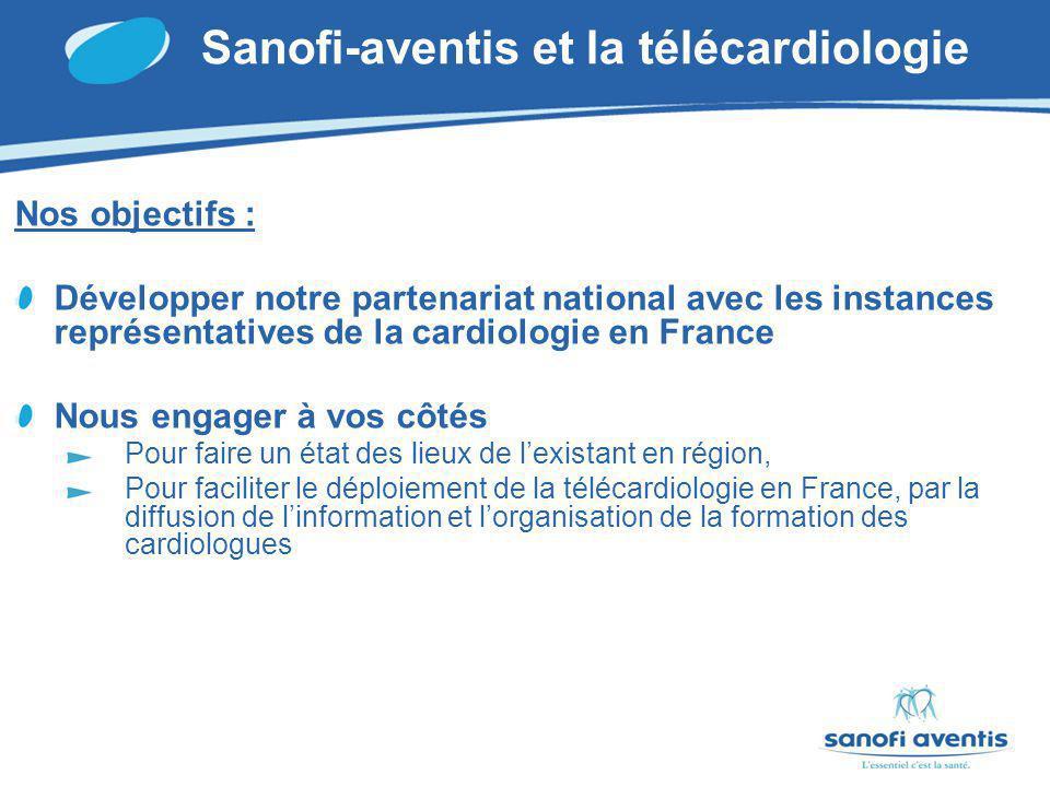 Sanofi-aventis et la télécardiologie Nos objectifs : Développer notre partenariat national avec les instances représentatives de la cardiologie en France Nous engager à vos côtés Pour faire un état des lieux de lexistant en région, Pour faciliter le déploiement de la télécardiologie en France, par la diffusion de linformation et lorganisation de la formation des cardiologues