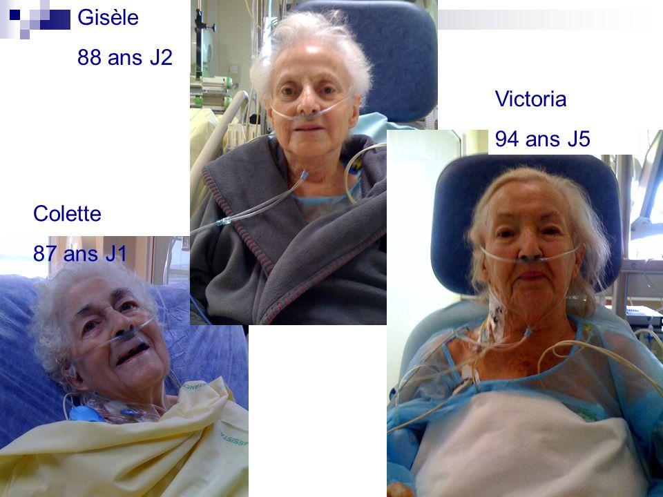 Colette 87 ans J1 Gisèle 88 ans J2 Victoria 94 ans J5