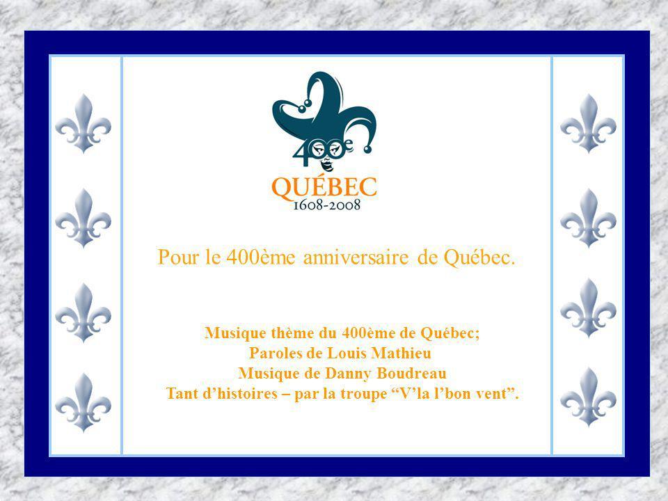 Vous pouvez admirer Jusquau 24 Août 2008 cette oeuvre de Robert Lepage, au Bassin Louise à Québec.C est un son et lumière gratuit et, beau temps mauvais temps à 22:00h, il y aura représentation.