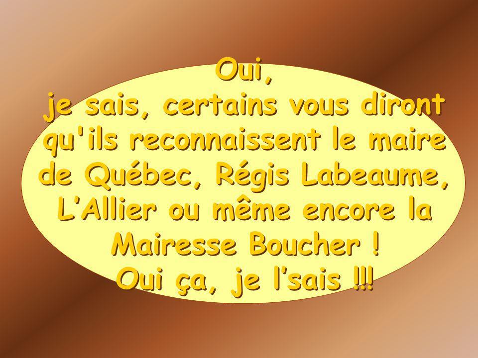 Oui, je sais, certains vous diront qu ils reconnaissent le maire de Québec, Régis Labeaume, LAllier ou même encore la Mairesse Boucher .