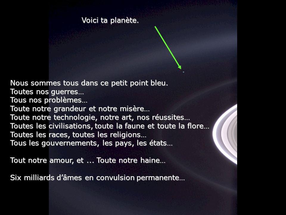 Héla aquí, pues: Considère un instant cette photo. Elle fut prise par Cassini-Huygens, Une navette spatiale automatique, en 2004, Quand elle atteignit