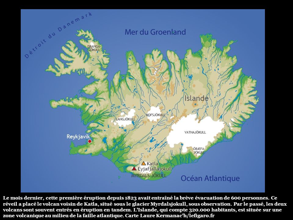 Le volcan situé sous le glacier Eyjafjallajokull est dix fois plus actif qu'un cratère voisin entré en éruption le 20 mars dernier (photo). Un événeme