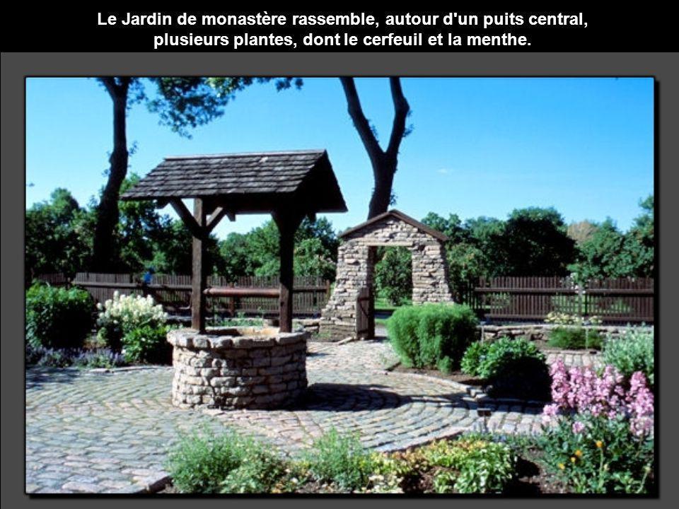 Le Jardin de monastère rassemble, autour d'un puits central, plusieurs plantes, dont le cerfeuil et la menthe.