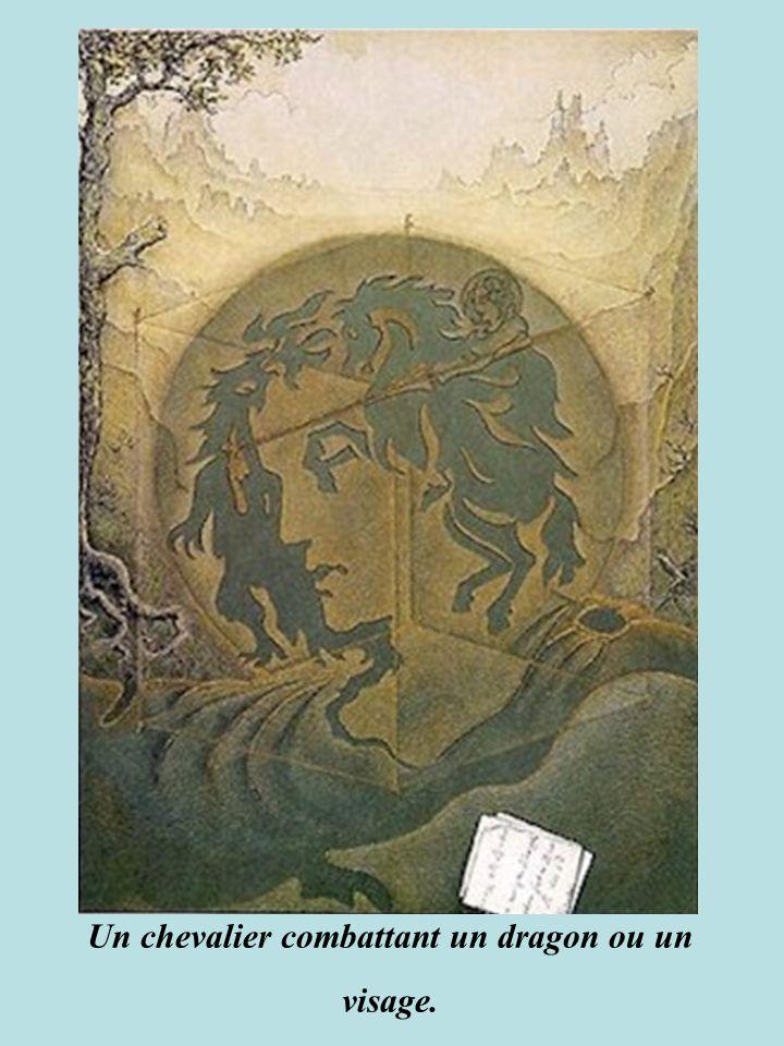 Dans le visage du peintre se cache un homme chevauchant un âne. L'artiste peint un homme chevauchant un âne formant ainsi son propre visage.