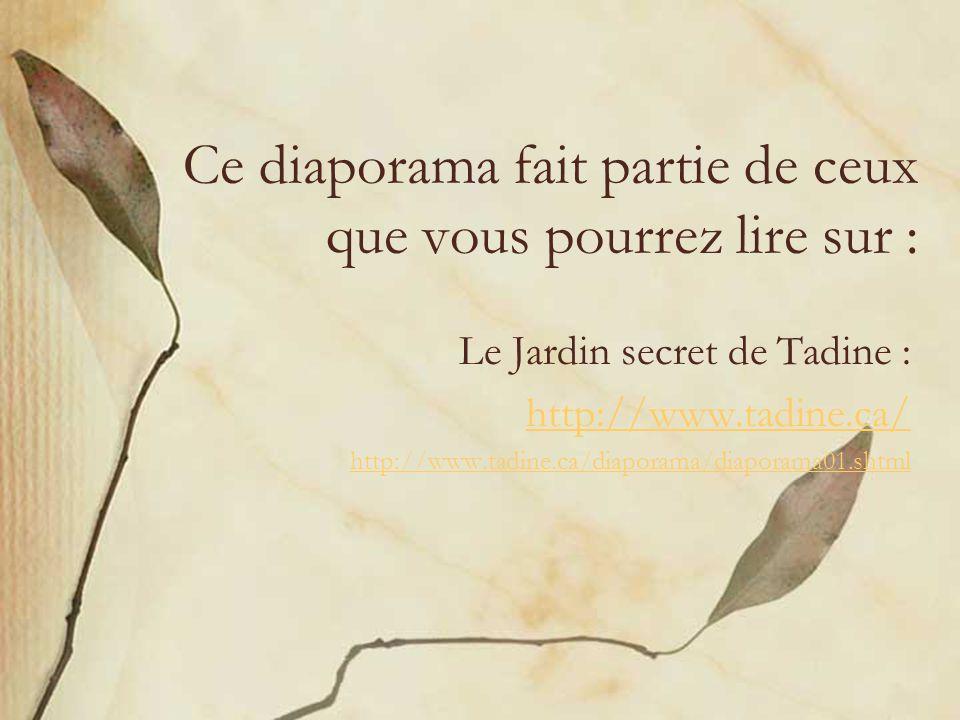 Ce diaporama fait partie de ceux que vous pourrez lire sur : Le Jardin secret de Tadine : http://www.tadine.ca/ http://www.tadine.ca/diaporama/diapora