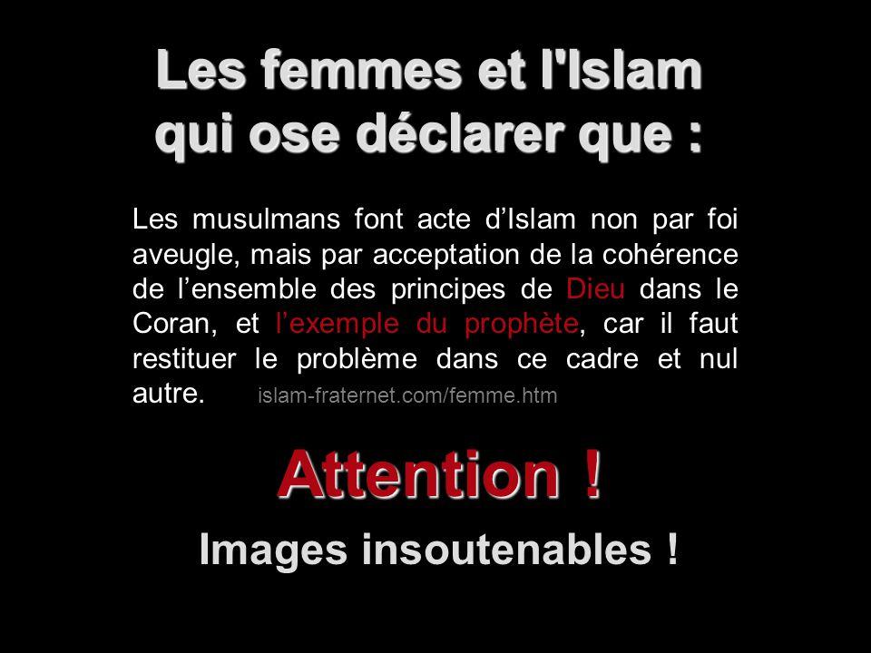 Les femmes et l'Islam qui ose déclarer que : Attention ! Images insoutenables ! Les musulmans font acte dIslam non par foi aveugle, mais par acceptati