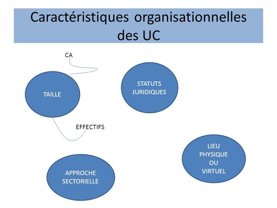 Caractéristiques organisationnelles des UC TAILLE APPROCHE SECTORIELLE STATUTS JURIDIQUES LIEU PHYSIQUE OU VIRTUEL CA EFFECTIFS