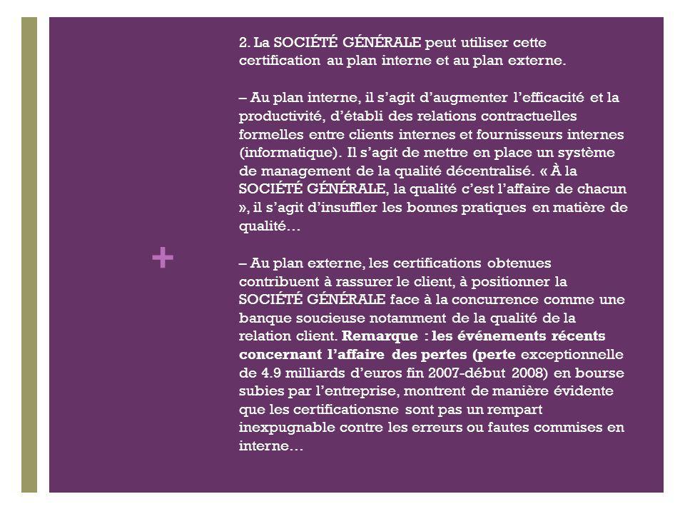 + 2. La SOCIÉTÉ GÉNÉRALE peut utiliser cette certification au plan interne et au plan externe.
