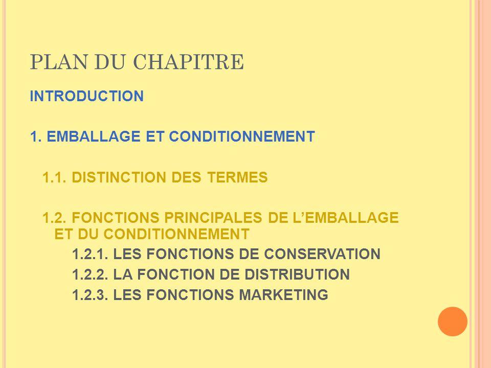 PLAN DU CHAPITRE INTRODUCTION 1. EMBALLAGE ET CONDITIONNEMENT 1.1. DISTINCTION DES TERMES 1.2. FONCTIONS PRINCIPALES DE LEMBALLAGE ET DU CONDITIONNEME