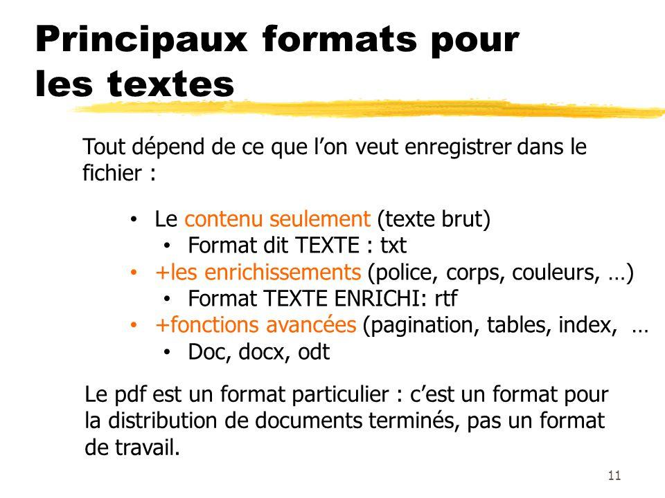 Principaux formats pour les textes 11 Le contenu seulement (texte brut) Format dit TEXTE : txt +les enrichissements (police, corps, couleurs, …) Forma
