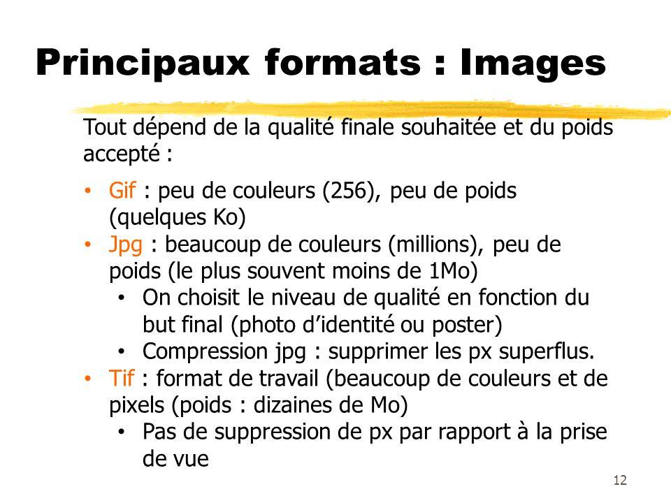 Principaux formats : Images 12 Tout dépend de la qualité finale souhaitée et du poids accepté : Gif : peu de couleurs (256), peu de poids (quelques Ko