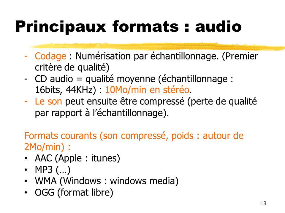 Principaux formats : audio 13 -Codage : Numérisation par échantillonnage. (Premier critère de qualité) -CD audio = qualité moyenne (échantillonnage :