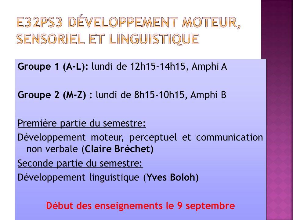 Groupe 1 (A-L): lundi de 12h15-14h15, Amphi A Groupe 2 (M-Z) : lundi de 8h15-10h15, Amphi B Première partie du semestre: Développement moteur, perceptuel et communication non verbale (Claire Bréchet) Seconde partie du semestre: Développement linguistique (Yves Boloh) Début des enseignements le 9 septembre