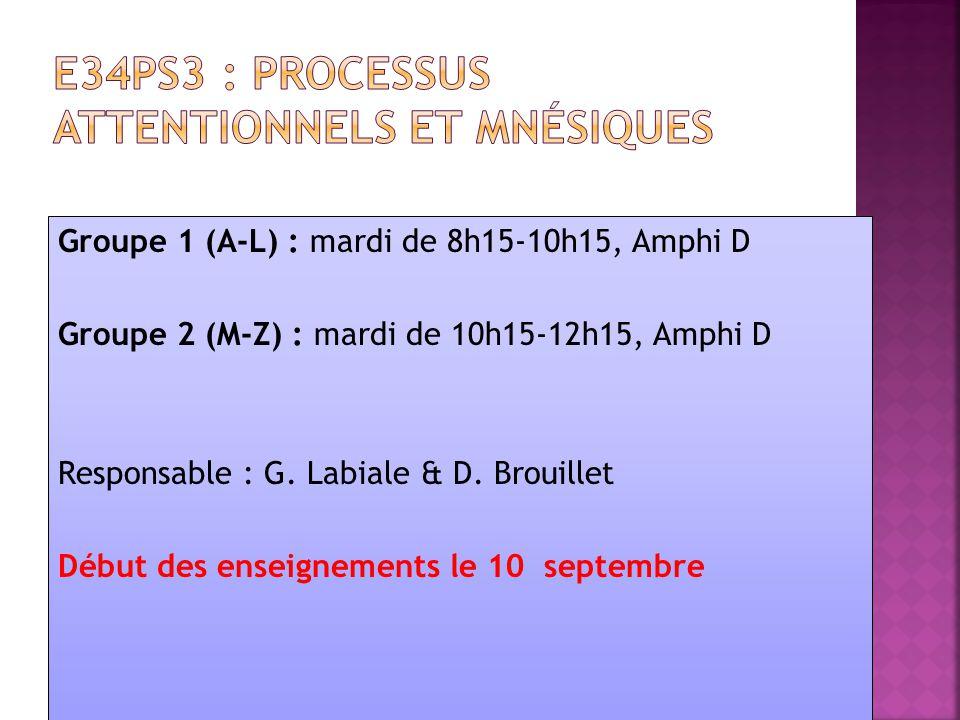 Groupe 1 (A-L) : mardi de 8h15-10h15, Amphi D Groupe 2 (M-Z) : mardi de 10h15-12h15, Amphi D Responsable : G. Labiale & D. Brouillet Début des enseign