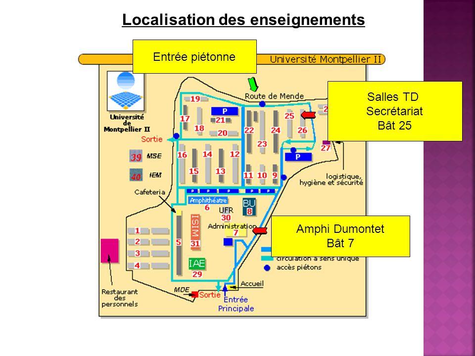 Localisation des enseignements Salles TD Secrétariat Bât 25 Amphi Dumontet Bât 7 Entrée piétonne