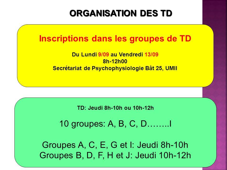 ORGANISATION DES TD TD: Jeudi 8h-10h ou 10h-12h 10 groupes: A, B, C, D……..I Groupes A, C, E, G et I: Jeudi 8h-10h Groupes B, D, F, H et J: Jeudi 10h-12h Inscriptions dans les groupes de TD Du Lundi 9/09 au Vendredi 13/09 8h-12h00 Secrétariat de Psychophysiologie Bât 25, UMII