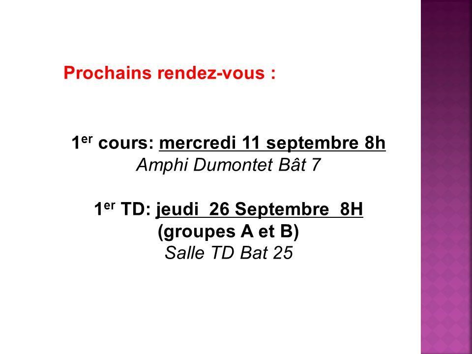 Prochains rendez-vous : 1 er cours: mercredi 11 septembre 8h Amphi Dumontet Bât 7 1 er TD: jeudi 26 Septembre 8H (groupes A et B) Salle TD Bat 25