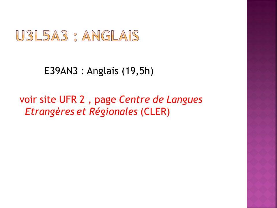 E39AN3 : Anglais (19,5h) voir site UFR 2, page Centre de Langues Etrangères et Régionales (CLER)