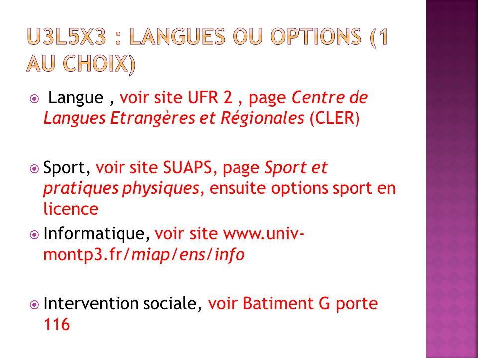Langue, voir site UFR 2, page Centre de Langues Etrangères et Régionales (CLER) Sport, voir site SUAPS, page Sport et pratiques physiques, ensuite opt