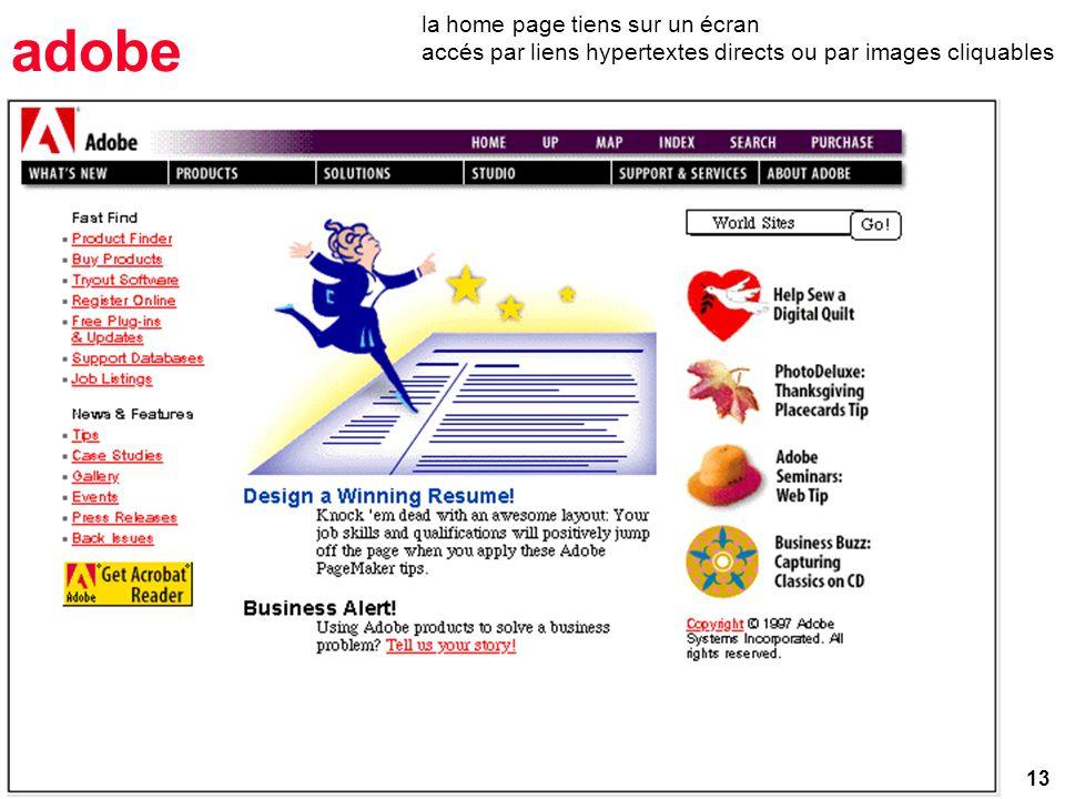 13 adobe la home page tiens sur un écran accés par liens hypertextes directs ou par images cliquables