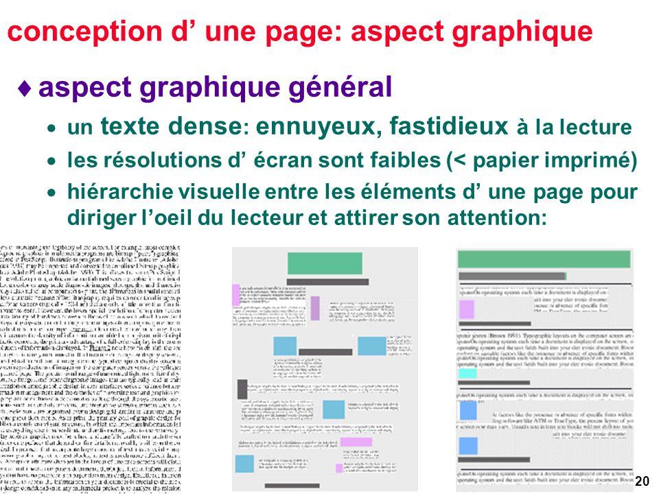 20 conception d une page: aspect graphique aspect graphique général un texte dense : ennuyeux, fastidieux à la lecture les résolutions d écran sont faibles (< papier imprimé) hiérarchie visuelle entre les éléments d une page pour diriger loeil du lecteur et attirer son attention: