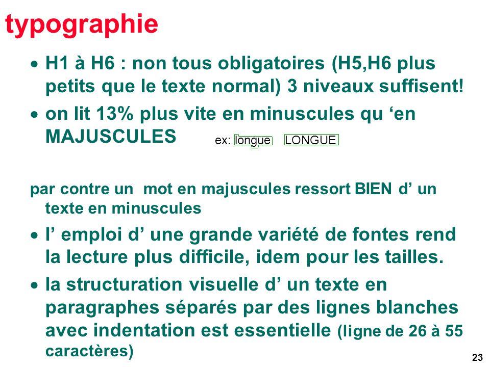 23 typographie H1 à H6 : non tous obligatoires (H5,H6 plus petits que le texte normal) 3 niveaux suffisent.