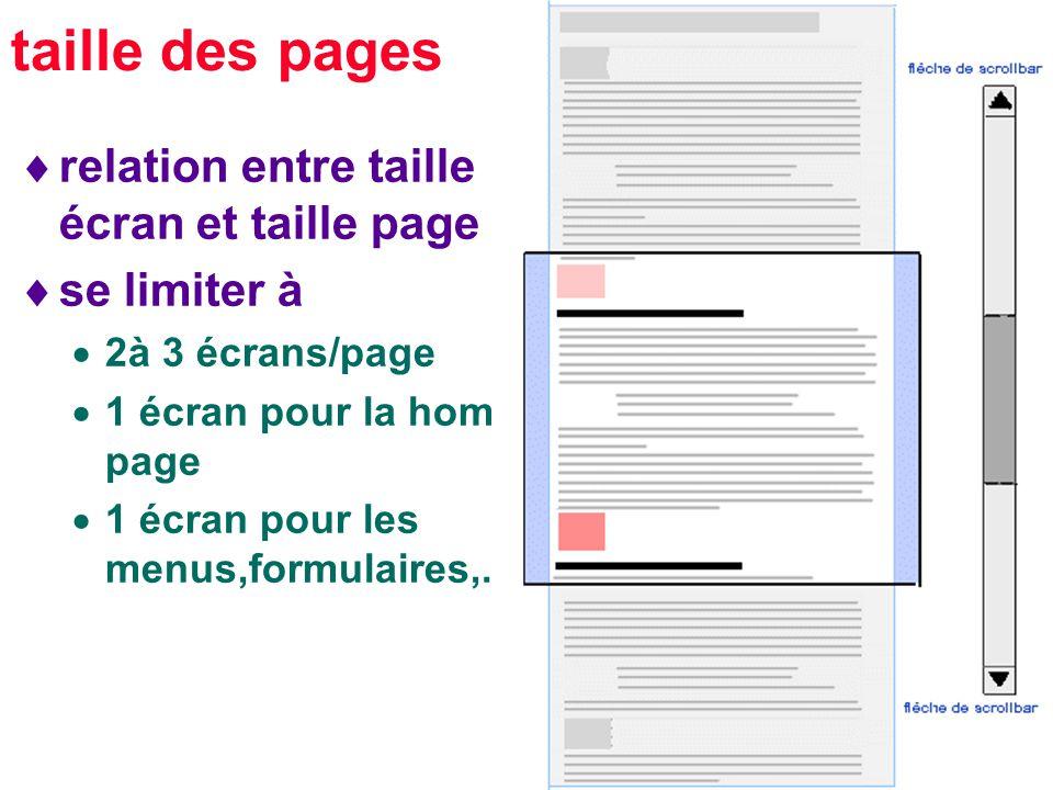 24 taille des pages relation entre taille écran et taille page se limiter à 2à 3 écrans/page 1 écran pour la home page 1 écran pour les menus,formulaires,..