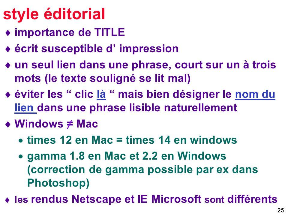 25 style éditorial importance de TITLE écrit susceptible d impression un seul lien dans une phrase, court sur un à trois mots (le texte souligné se lit mal) éviter les clic là mais bien désigner le nom du lien dans une phrase lisible naturellement Windows = Mac times 12 en Mac = times 14 en windows gamma 1.8 en Mac et 2.2 en Windows (correction de gamma possible par ex dans Photoshop) les rendus Netscape et IE Microsoft sont différents