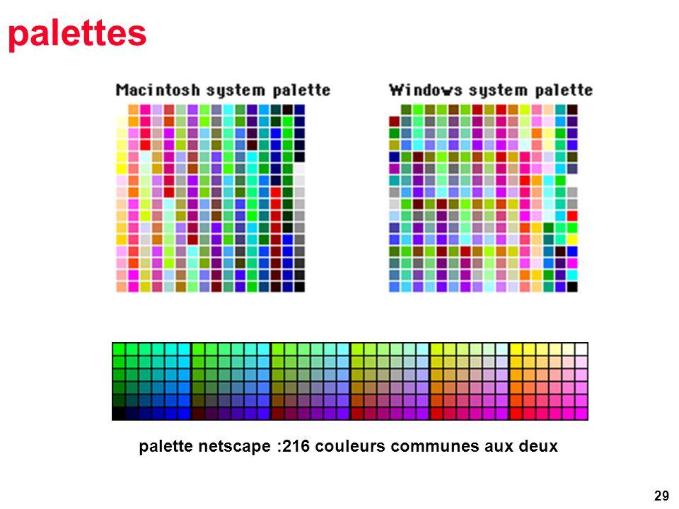 29 palettes palette netscape :216 couleurs communes aux deux