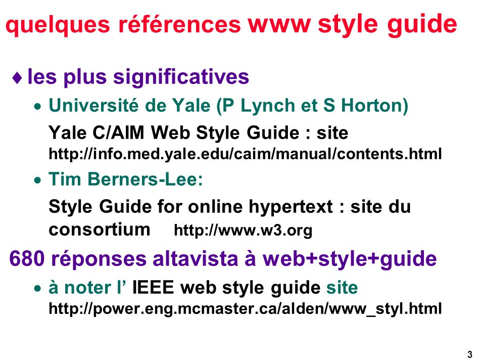 34 bibliowwwgraphie http://www.w3.org http://ugweb.cs.ualberta.ca/~gerald/validate/ http://www.hwg.org/resources/html http://www.webtechs.com/html/ http://www.stars.com/ http://info.med.yale.edu/caim/manual/ http://www.imag.fr/Multimedia/archives/