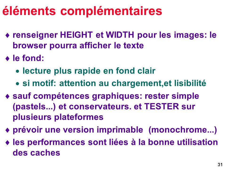 31 éléments complémentaires renseigner HEIGHT et WIDTH pour les images: le browser pourra afficher le texte le fond: lecture plus rapide en fond clair si motif: attention au chargement,et lisibilité sauf compétences graphiques: rester simple (pastels...) et conservateurs.