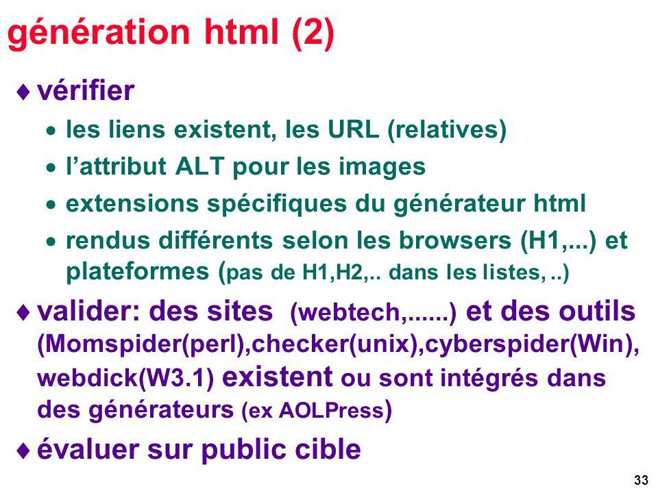 33 génération html (2) vérifier les liens existent, les URL (relatives) lattribut ALT pour les images extensions spécifiques du générateur html rendus différents selon les browsers (H1,...) et plateformes ( pas de H1,H2,..
