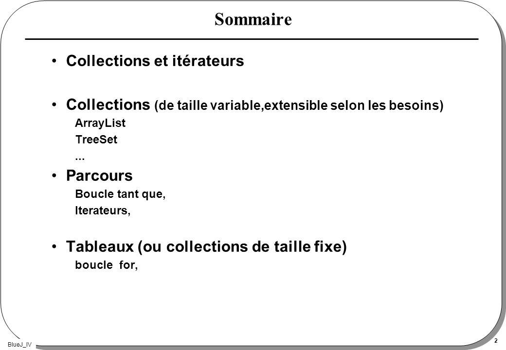 BlueJ_IV 2 Sommaire Collections et itérateurs Collections (de taille variable,extensible selon les besoins) ArrayList TreeSet... Parcours Boucle tant