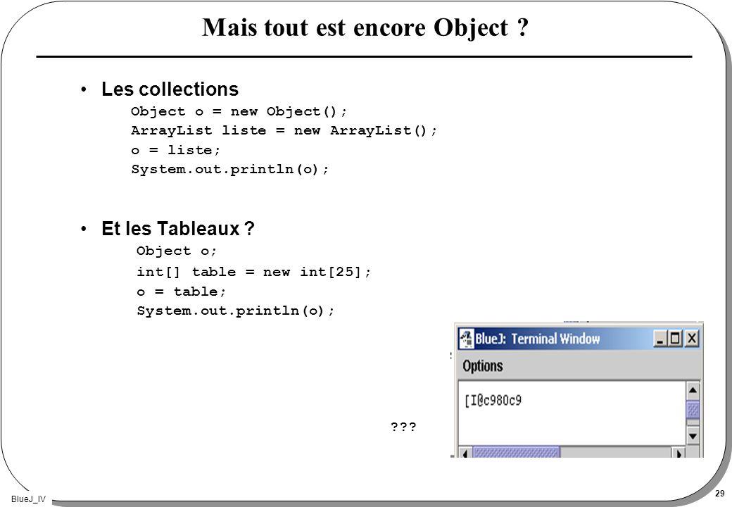 BlueJ_IV 29 Mais tout est encore Object ? Les collections Object o = new Object(); ArrayList liste = new ArrayList(); o = liste; System.out.println(o)
