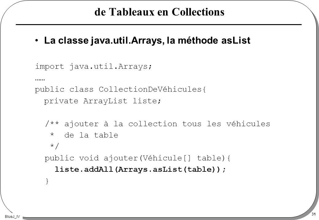 BlueJ_IV 31 de Tableaux en Collections La classe java.util.Arrays, la méthode asList import java.util.Arrays; …… public class CollectionDeVéhicules{ p