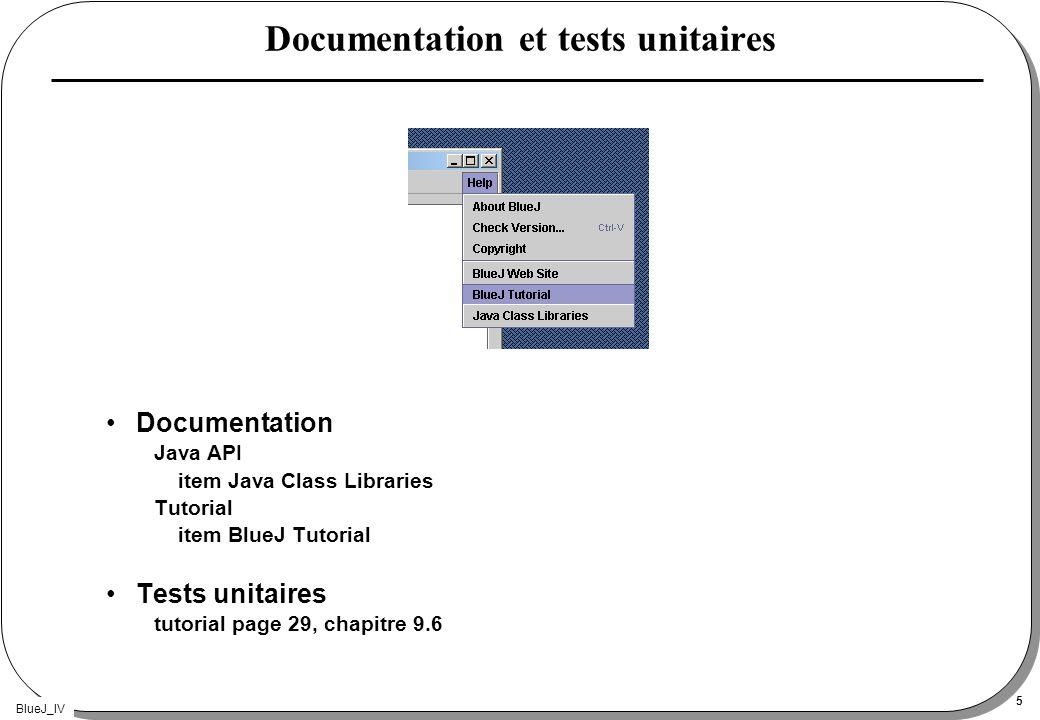 BlueJ_IV 5 Documentation et tests unitaires Documentation Java API item Java Class Libraries Tutorial item BlueJ Tutorial Tests unitaires tutorial pag