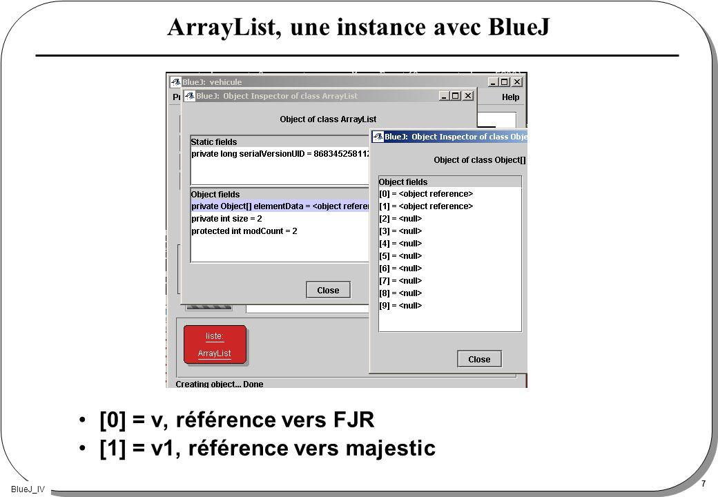 BlueJ_IV 7 ArrayList, une instance avec BlueJ [0] = v, référence vers FJR [1] = v1, référence vers majestic