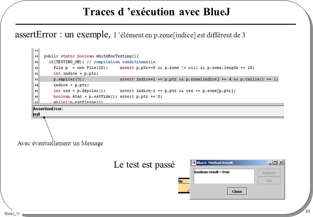 BlueJ_VI 23 Traces d exécution avec BlueJ assertError : un exemple, l élément en p.zone[indice] est différent de 3 Le test est passé Avec éventuelleme