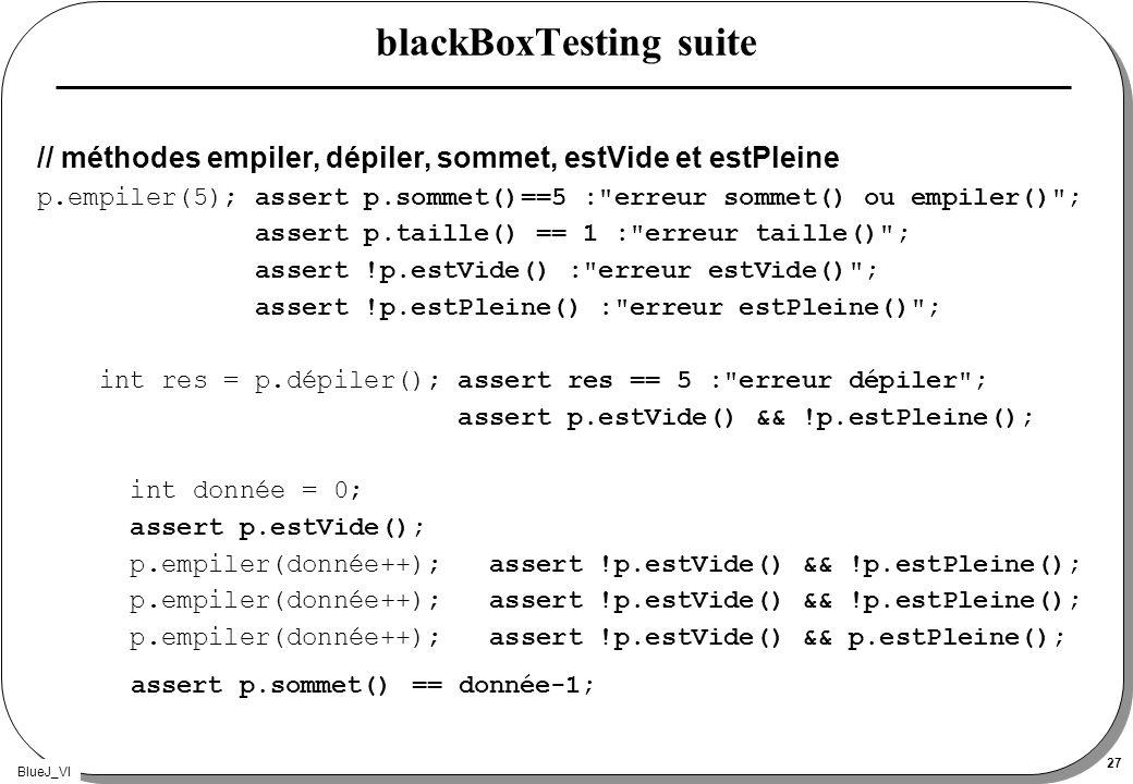 BlueJ_VI 27 blackBoxTesting suite // méthodes empiler, dépiler, sommet, estVide et estPleine p.empiler(5); assert p.sommet()==5 :