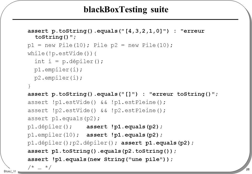 BlueJ_VI 28 blackBoxTesting suite assert p.toString().equals(